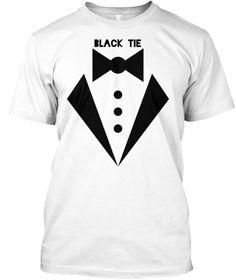 Black Tie White T-Shirt Front
