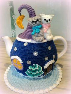 very cool crochet tea pot cosy