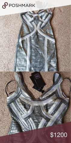 Herve leger dress Metallic fitted bodycon cocktail dress  Silver, purple and white  Brand new with tags Herve Leger Dresses Midi