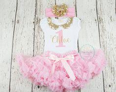 Rosa e oro primo compleanno Outfit Tutu vestito oro di susuLEMON