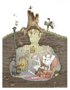 illustration of Burrow Fantasy Kunst, Fantasy Art, Art And Illustration, Illustration Children, Whimsical Art, Cute Art, Illustrators, Book Art, Concept Art