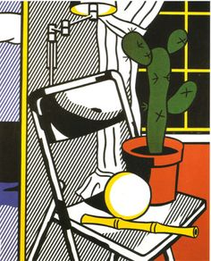 Interior with cactus, Roy Lichtenstein Size: cm Medium: magna, oil, canvas Roy Lichtenstein Pop Art, Jasper Johns, Oil Canvas, Canvas Art, Andy Warhol, Pablo Picasso, Richard Hamilton, Industrial Paintings, Pop Art Movement