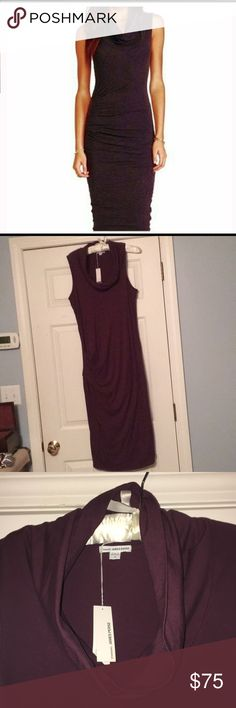 NWT!!!  James Perse Dress size 4 Large Gorgeous James Perse dress brand new with tags!  Love it, but I have another in black and don't need two.  Beautiful plum color (dark purple), with cowl neck and rouching on the side.  It is fitted and in this style I feel more comfortable in size 4 (all my other James Perse items are size 3).  Looks amazing with nude heels! James Perse Dresses Midi