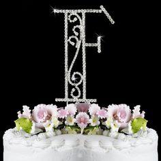 Romanesque Swarovski Crystal Wedding Cake Topper Letter F