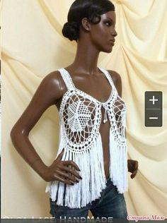 Фотография Gilet Crochet, Crochet Top, Crochet Earrings, Tops, Women, Fashion, Crocheting, Blouses, Bebe