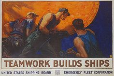 'Teamwork Builds Ships Motivational' by Public Domain Graphic Art on Wrapped Canvas