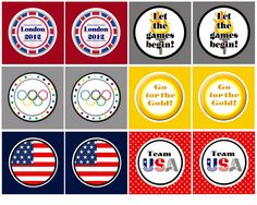 Olympic Printables: party circles, gold, silver, bronze medals, medal count chart