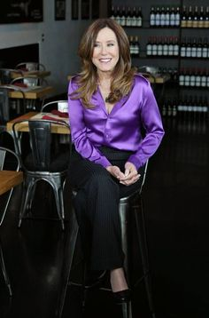 Interviews Mary McDonnell at Westfield Century City on June 2014 in Los Angeles, California. Get premium, high resolution news photos at Getty Images Blouse Sexy, Crop Blouse, Blouse Outfit, Satin Top, Silk Satin, Classy Work Outfits, Satin Bluse, Purple Satin, Sexy Older Women
