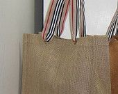 """IDEA ~  Jute and BURLAP Tote, Burberry Ribbon. 10""""x10""""x4"""", Great for Baby Showers, Birthday Parties, Bridal Shower, Weddings"""