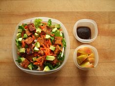 romaine salad with red onion, carrot, cucumber, avocado, marinated and sautéed tofu, balsamic vinaigrette, and an apple