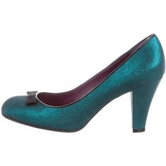 Pre-owned Marc by Marc Jacobs Metallic Round-Toe Pumps (€43) ❤ liked on Polyvore featuring shoes, pumps, green, round toe shoes, rounded toe pumps, green pumps, green shoes and bow shoes
