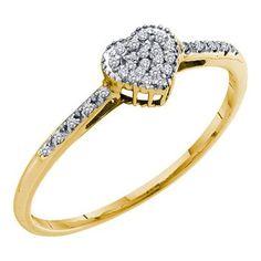 10k Yellow Gold 0.07Ctw Diamond Fashion Heart Ring: Ring