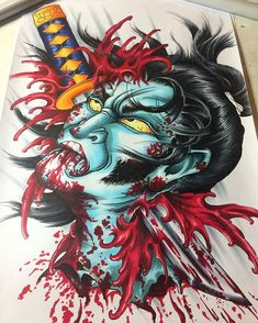 WHO LIKES GORE? ❤️ Todays fun! #gory #days #blood #namakubi #decapitation #asian #irezumi #japanese #oriental #homework #painting #color #head #gore #horror #artist #artwork #art #sketchbook #sketch #custommade #ink #inked #tattoo #tattoodesign #copenhagen #homework #practice #splatter #evil