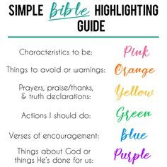 A simple highlighting system to help you study the Word! (This might be one that is actually memorizable! Bible Study Plans, Bible Study Notebook, Bible Study Tips, Bible Study Journal, Scripture Study, Inductive Bible Study, Bible Journaling For Beginners, Bible Plan, Bible Highlighting