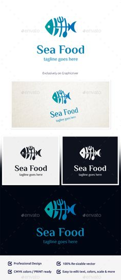 Sea Food Logo: Food Logo Design Template by GoldenLab. Food Logo Design, Best Logo Design, Logo Food, Logo Design Template, Logo Templates, Graphic Design, Lab, Latest Design Trends, Edit Text
