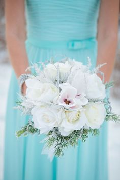 Tiffany blue bridesmaid dress and bouquet | Crown Photography: crownphotography.ca
