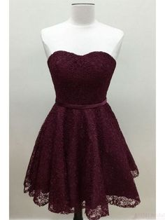 A Line Burgundy Homecoming Dresses with Lace Short Prom Dresses Cocktail Dresses