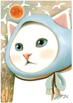 Jetoy Choo Choo Cat Postcard: Blue Bird