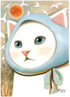 Jetoy Choo Choo Cat Postcard: Blue Bird