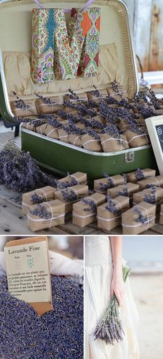 I am not sure about soap idea? Lol but I like how the they wrapped these favors then out in vintage suitcase! Wedding Favors - Lavender Soap wrapped in kraft paper and twine, topped with a colorful sprig of lavender and displayed in a vintage suitcase. Wedding Gift Bags, Diy Wedding Favors, Wedding Decorations, Wedding Ideas, Vintage Wedding Favors, French Wedding Themes, Wedding Give Away Ideas, Give Aways Ideas, Vintage Suitcase Wedding