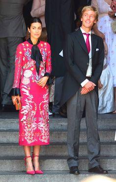 El príncipe Christian de Hannover, hermano del novio, y su prometida, Alessandra de Osma