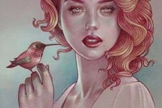 mujer-sujetando-pájaro