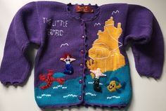 Aunti M's The Little Mermaid Ariel Ursula Purple Cardigan Sweater Child Medium | eBay