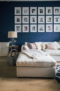 Gallery Wall With White Frames - Victorian Villa Sitting Room Painted In Farrow & Ball Stifkey Blue Living Room Designs, Living Room Decor, Living Spaces, Living Rooms, Kitchen Feature Wall, Furniture Arrangement, Room Colors, Wall Colours, Room Paint