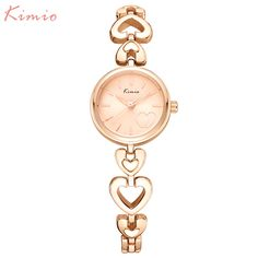 Cheap clock brand, Buy Quality clock lady directly from China clock gold Suppliers: women watches KIMIO brand dress quartz watch Love Exquisite Gold Luxury Bracelet watches Ladies steel wristwatches giri's clock Versace, Gold Heart Bracelet, Ladies Bracelet Watch, Ladies Dress Watches, Skeleton Watches, Shell, Jewelry Watches, Women's Watches, Or Rose