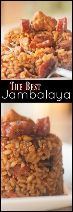 This Cajun Jambalaya with Chicken, Smoked Sausage & Ham is the most flavorful an.- This Cajun Jambalaya with Chicken, Smoked Sausage & Ham is the most flavorful and delicious Jambalaya ever! Everyone is wild for this recipe! Cajun Recipes, Seafood Recipes, Cooking Recipes, Healthy Recipes, Haitian Recipes, Donut Recipes, Chicken Recipes, Healthy Dishes, Healthy Soup