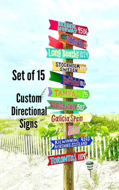 SET OF 15 Custom Hand Painted Coastal Directional Signs | Etsy Aqua Background, Rustic Background, Key West Decor, Les Bahamas, Outline, Directional Signage, Bubble, Weathered Paint, Outdoor Projects