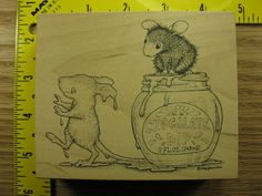 House Mouse Rubber Stamp Dipped In Chocolate Stampa Rosa #3750 #StampaRosa