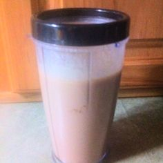 My favorite pre-workout shake: water, ice, natural peanut butter, chocolate protein powder, and a banana.