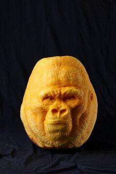 Gorille - Pumpkin carving - citrouille sculptée