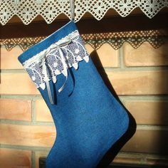 Blue Wool fabric Christmas stocking complemented with by MilaStyle, $18.00