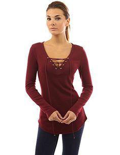 PattyBoutik Women's V Neck Lace Up Curved Hem Tunic (Burgundy M)