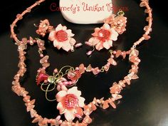 Coral Necklace+Earrings/IMPERIAL LILIES Set   – silver filigree wire wrap, mother of pearl flowers, Corals, Swarovsky crystals,cherry Quartz by CamelysUnikatBijou on Etsy