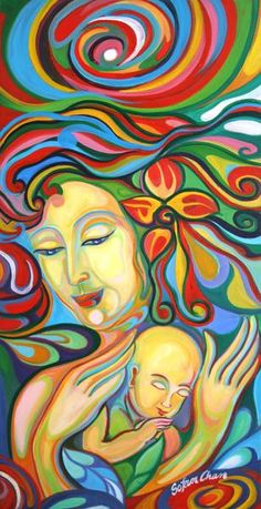 Mother & Child Painting by Sofan Chan