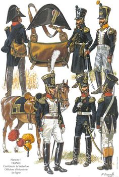 French line infantry Officers 1815 Battle of Waterloo