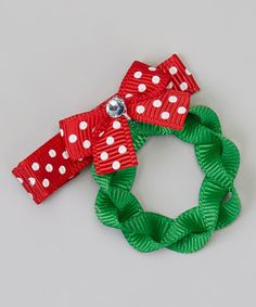Take a look at this Green Polka Dot Holiday Wreath Clip by The Hair Candy Store on #zulily today!
