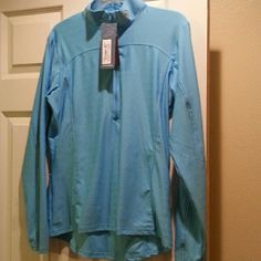 Womens Performance  century II LS cycle jersey Nicely fitted to go over another jersey for sun or cold protection.   Back boasts 3 pockets for those long rides.  Powder blue.  NwT perfomance cycle Tops Sweatshirts & Hoodies