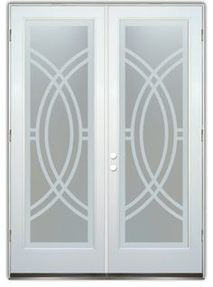 Frosted Glass Front Entry Doors - ARCS II PRIVATE. Glass Front Entry Doors that Make a Statement! Your front entry door is your home's initial focal point and glass front doors by Sans Soucie with frosted, etched glass designs create a unique, custom effect while providing privacy AND light thru exquisite, quality designs!  - $1,806.00 x2 (Also for Upstairs Balcony doors)
