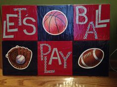 Decoupage wall art: sports theme - six 8x8 canvas tiles, painted then decoupaged.  Can mix/match hanging (2/2014)