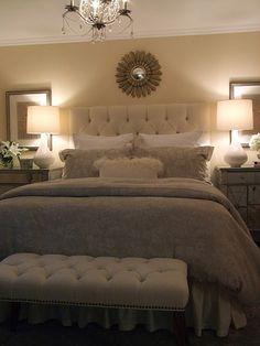 Bedroom - upholstered bed + sunburst mirror + mirrored nightstands