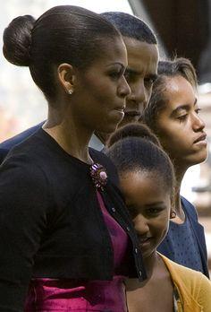 First Lady Michelle, President Obama,Sasha and Malia.