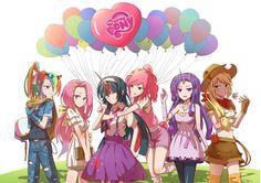 #770106 - applejack, artist:iron age, fluttershy, horned humanization, humane six, humanized, mane six, midriff, pinkie pie, pixiv, rainbow dash, rarity, safe, twilight sparkle - Derpibooru - My Little Pony: Friendship is Magic Imageboard