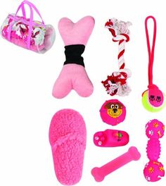 8 Piece Duffle Bag Pet Toy Set, One Size, Pink *** Click image to review more details.