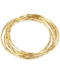 Hint of Gold Thin Bangle Bracelet Set in 14k Gold over Metal