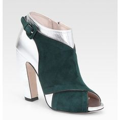 Miu Miu Suede And Metallic Ankle Boots (€335) ❤ liked on Polyvore featuring shoes, boots, ankle booties, women, short high heel boots, short suede boots, suede high heel boots, high heel boots and high heel ankle boots