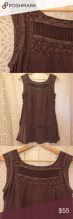 """Free People Silk Tunic Free People Silk Tunic. Purple/Gray in Color. 28"""" Length From Shoulder to Hem. Boho Beautiful. Like New Condition. Super Soft 100% Heavy Silk. Just a Gorgeous Dusty Muted Hue. Button Detailing Down Both Sides. Crochet Lace Panel on Front & Back Shoulders & Neckline Accented with an Organic Canvas Ribbon Detail. A Sweet Little Flare at the Hem. It Would Pair so Well with Jeans, A Flowy Peasant Skirt or even Shorts, Sandals, Wedges or Booties. So Beautiful and Ready for…"""